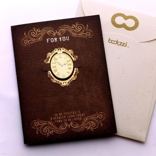 [책갈피 카드] 엔틱 시계 - 18k금장책갈피+카드+봉투