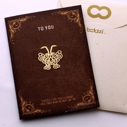 [책갈피 카드] 엔틱 나비 - 18k금장책갈피+카드+봉투