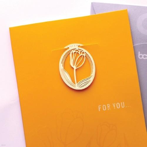 [책갈피 카드] 심플 튤립축제  - 18k금장책갈피+카드+봉투