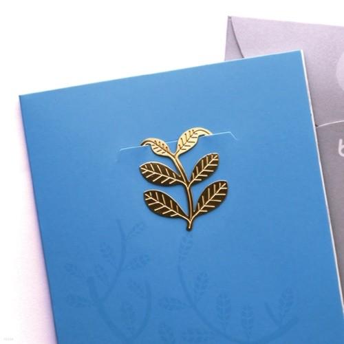 [책갈피 카드] 심플 숲속에서  - 18k금장책갈피+카드+봉투