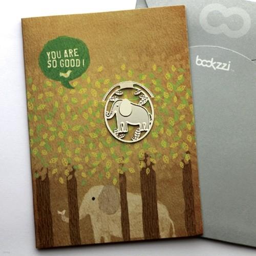 [책갈피 카드] 빈티지 코끼리의 숨바꼭질  - 은장책갈피+카드+봉투