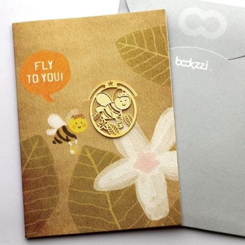[책갈피 카드] 빈티지 스윗 허니비  - 18k금장책갈피+카드+봉투