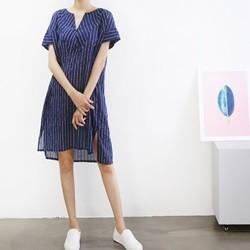 [드레스날다] 마린 줄지 트임넥 원피스(ops748)