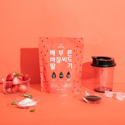 인테이크 배부른 바질씨드 딸기(140gx1봉)