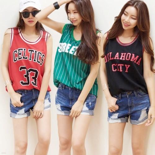 [드레스날다] 3종택1 레터링 농구 나시 티셔츠(tee537)