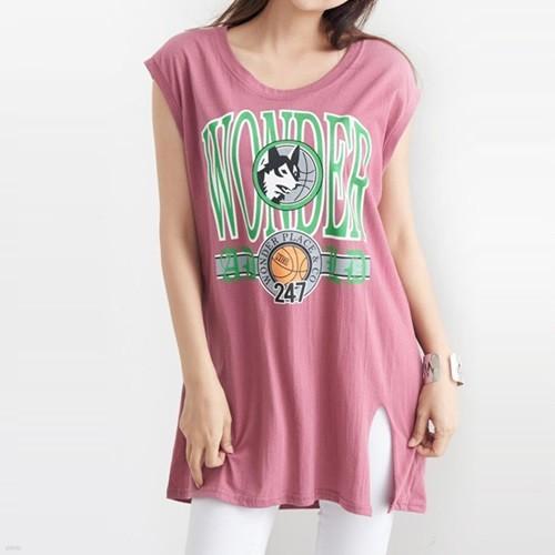 [드레스날다] 원더 프린팅 캡소매 롱 티셔츠(tee536)
