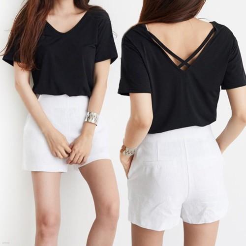 [드레스날다] 베이직 엑스끈 브이넥 티셔츠(tee535)