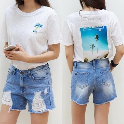 [드레스날다] 릴리 야자수 프린팅 슬라브 티셔츠(tee533)