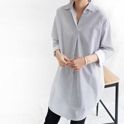 [드레스날다] 에릴 잔스트라이프 풀오버 롱 셔츠(nb164)