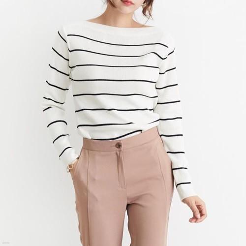 [드레스날다] 보트넥 베이직 스트라이프 니트(knit389)