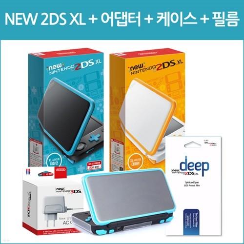 [뉴2DS XL 본체]닌텐도 뉴 2DS XL 본체(한글판)+뉴3DS 어댑터+케이스+필름
