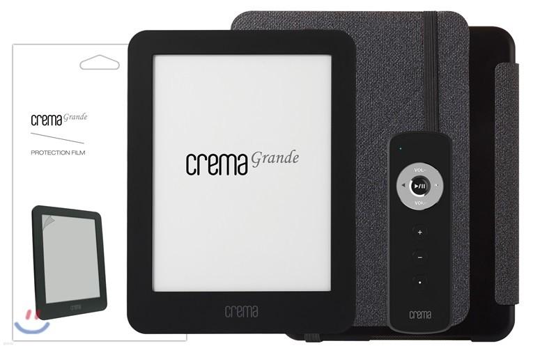 예스24 크레마 그랑데 블랙+스탠딩 케이스(그레이/블랙)+액정보호필름+리모콘