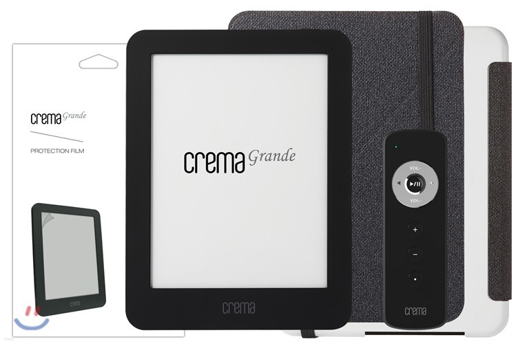 예스24 크레마 그랑데 블랙+스탠딩 케이스(그레이/화이트)+액정보호필름+리모콘
