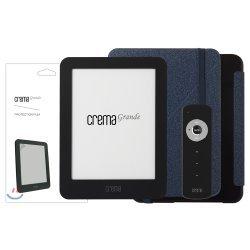 예스24 크레마 그랑데 블랙+스탠딩 케이스(블루/블랙)+액정보호필름+리모콘