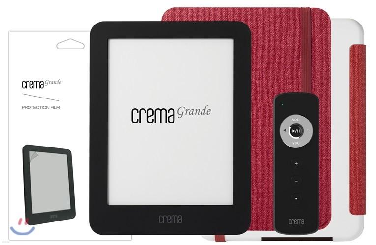 예스24 크레마 그랑데 블랙+스탠딩 케이스(레드/화이트)+액정보호필름+리모콘