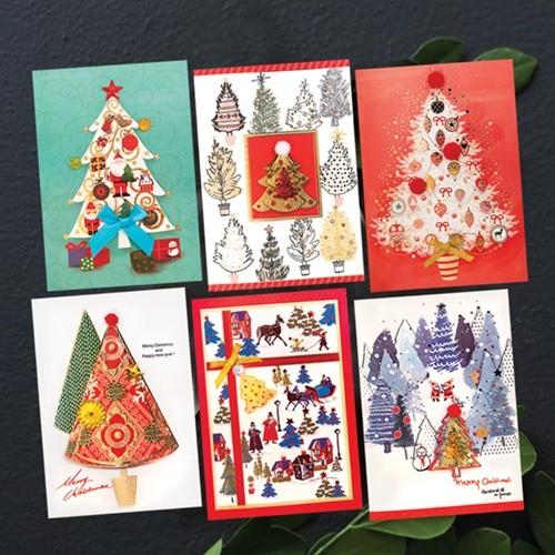 FS1026 Set(6종) 크리스마스카드,트리카드,산타...