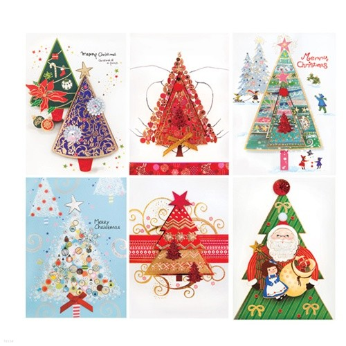 FS1027 Set(6종) 크리스마스카드,트리카드,산타...