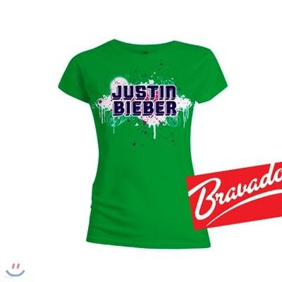 저스틴 비버 JUSTIN BIEBE paint green 31584200 여성용 티셔츠