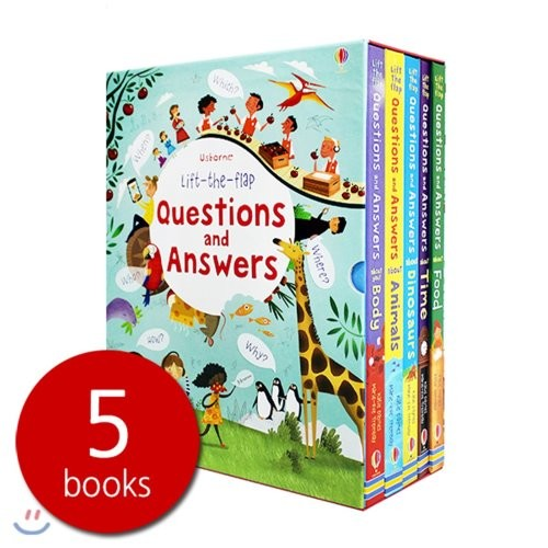 Usborne Lift the flap Questions and Answers 어스본 인기 플랩북 빅보드북 5권 세트