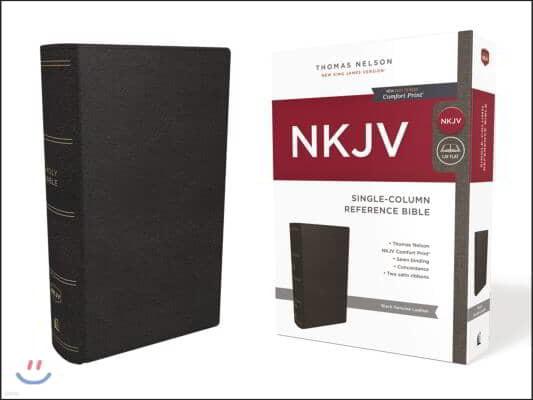 NKJV, Single-Column Reference Bible, Genuine Leather, Black, Red Letter Edition, Comfort Print