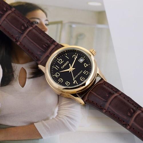 정품 카시오 LTP-V002GL-1B 여성시계 아날로그 가죽시계