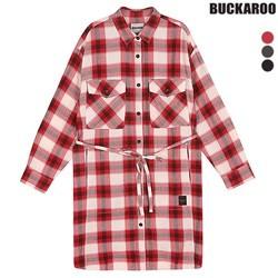 [BUCKAROO]여성 면30수 백프린트 4포켓 롱기장셔츠(B151SH550P)