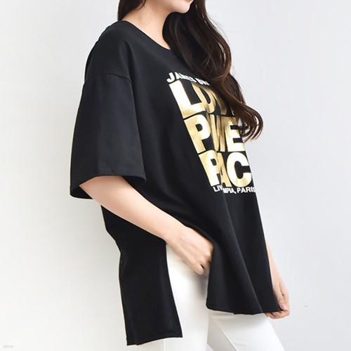 [드레스날다] 블링 호일 레터링 슬릿 박스 티셔츠(tee702)