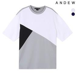 [ANDEW]남성 엠보소재 배색절개티셔츠(O182TS109P)
