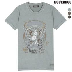 [BUCKAROO]유니 26수 강연 피그먼트 빈티지 R넥 티셔츠(B182TS030P)