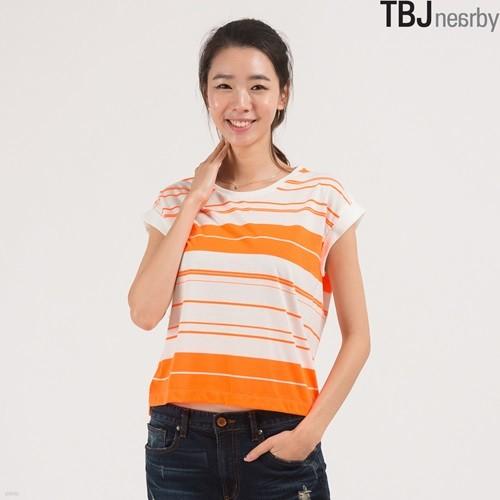 [TBJ]여성 라운드 숏기장 형광 스트라이프 티셔츠(T142TS609P)