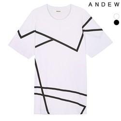 [ANDEW]남성 라인 프린트 반팔 티셔츠(O152TS127P)