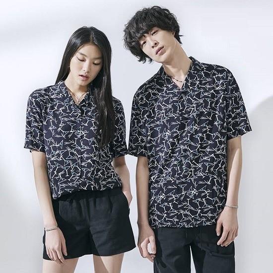 [ANDEW]유니오픈카라 레이온 패턴물 셔츠(O182SH010P)