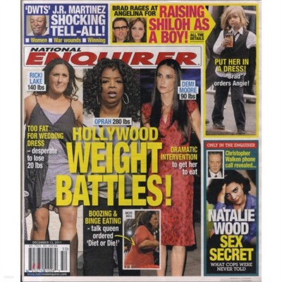 National Enquirer (주간) : 2011년 12월 12일자.