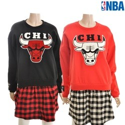 [NBA]CHI BULLS 체크셔츠 레이어드 원피스(N154TO712P)