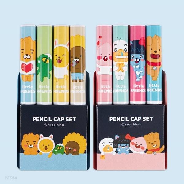 카카오프렌즈 리틀프렌즈 4본 연필캡 세트