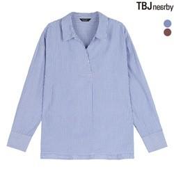 [TBJ]여성 온부 헨리넥 스트라이프 셔츠(T183SH600P)