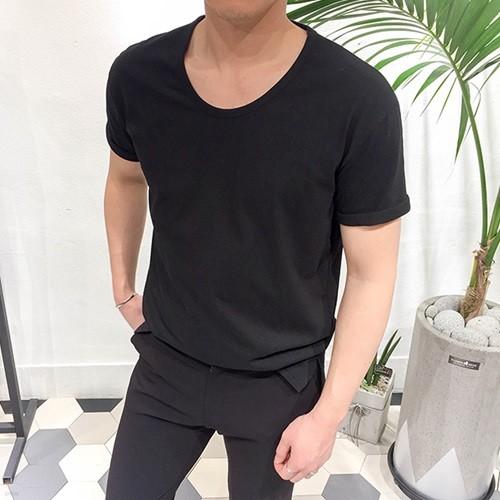 남자 루즈핏 무지 U넥 여름 반팔 티셔츠