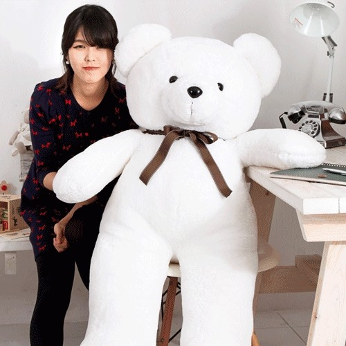 [국내제조 곰인형]140cm 프리미엄 아이빅베어+뼈다귀쿠션 곰인형 선물 사탕 화이트데이 인형 기념일 대형곰인형 큰곰인형