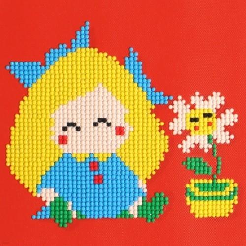젬콕페인팅 보석십자수 소녀와 꽃