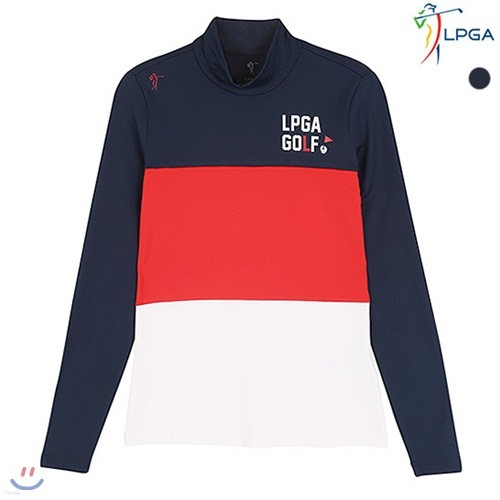 [LPGA]여성 3단 컬러 블럭 터틀넥 티셔츠 (L163TS552M)