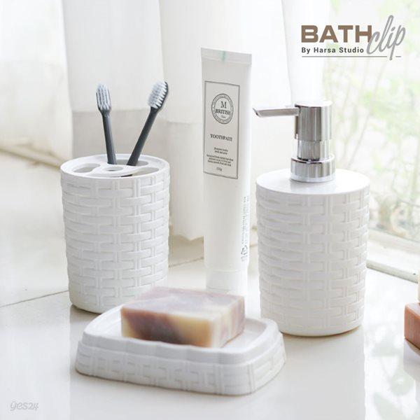 바스클립 플라스틱 라탄 욕실용기세트(물비누통,치약칫솔홀더,비누받침)