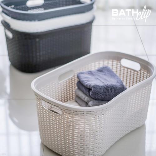 바스클립 플라스틱 라탄 세탁 오픈 바스켓 40L