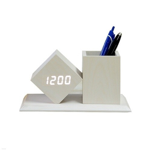 펜홀더 LED원목형 탁상시계/펜꽂이/건전지/USB케이블 겸용
