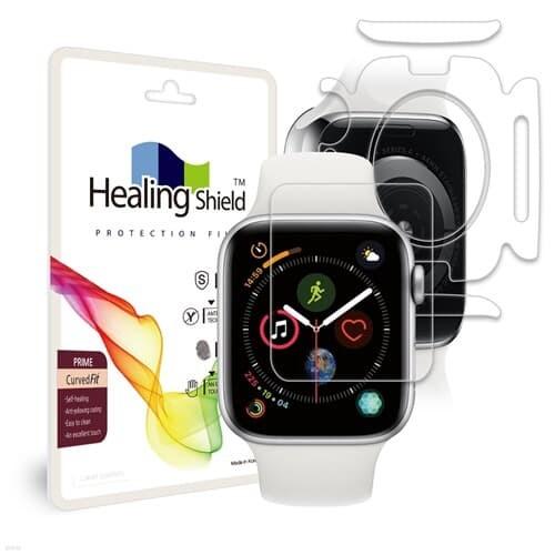 [힐링쉴드]애플 워치4 44mm CurvedFit 프라임 고광택 액정보호필름 전면 2매+심박센서 액정 2매(HS1766152)