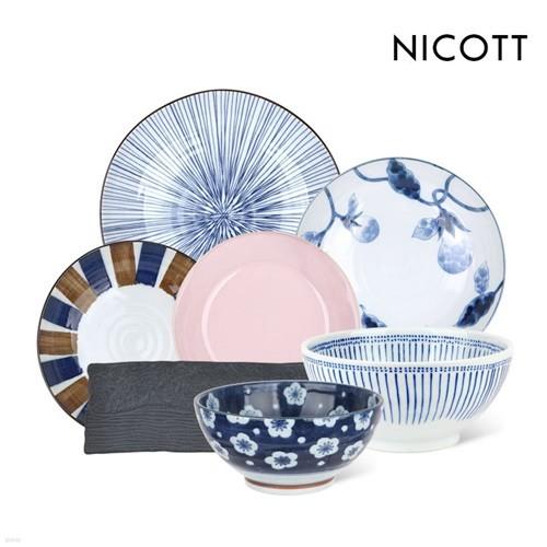 [균일가] 니코트 BEST 면기와 특대접시 19type JAPAN