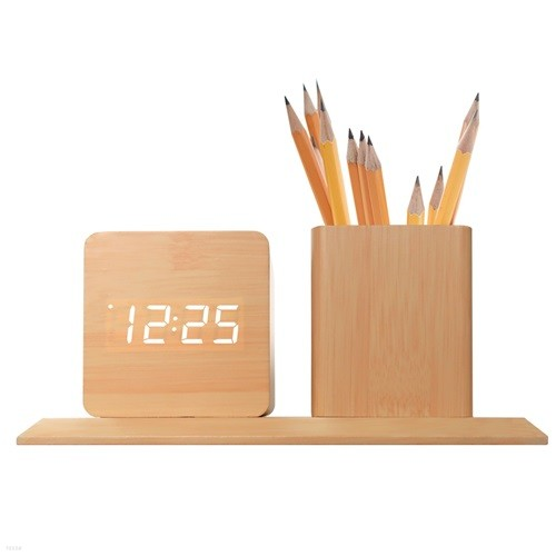 코비 연필꽂이 무소음 LED 디지털 탁상 우드 클락 무소음 알람 시계 AL70