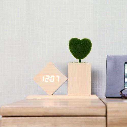 코비 연필꽂이 LED 디지털 무소음 탁상 우드 클락 무소음 알람 시계 AL60