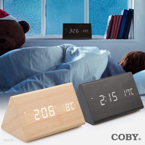 코비 삼각 LED 디지털 무소음 탁상 우드 클락 무소음 알람 시계 AL50