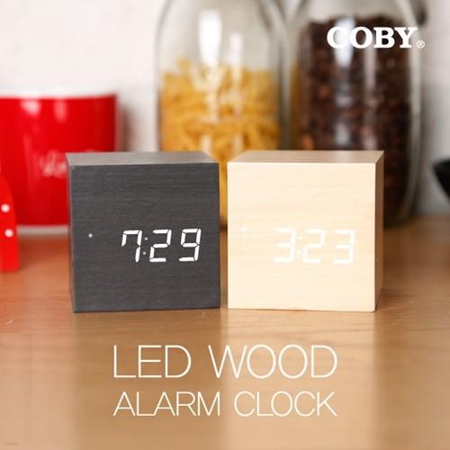 코비 무소음 우드 클락 무소음 LED 디지털 탁상 알람 시계 AL10