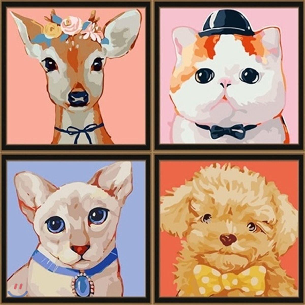 DIY 동물 캔버스 그리기 (25 X 25)